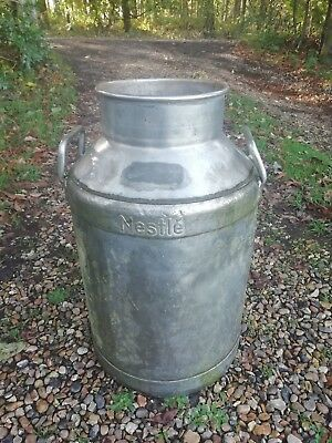 Genuine Vintage Nestle Swiss Large Aluminum Milk Churn Umbrella Stand Garden
