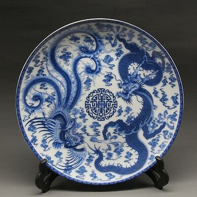 "8"" Chinese Blue and white Porcelain painted dragon phoenixPlate w Qianlong Mark"