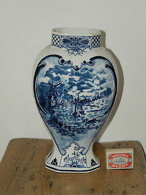 VINTAGE HAND PAINTED DELFT VASE 11 inches high   Crown Mark underneath