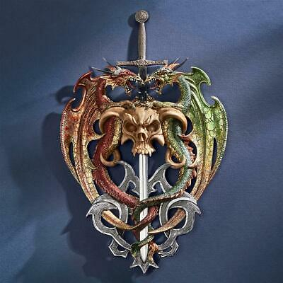 Design Toscano Hell-Bent Dragon Protectors of the Sword Wall Sculpture