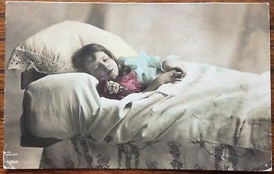 Antique Rppc Young Girl Sleeping In Bed With Her Toy Rita Martin A.1213.rotary
