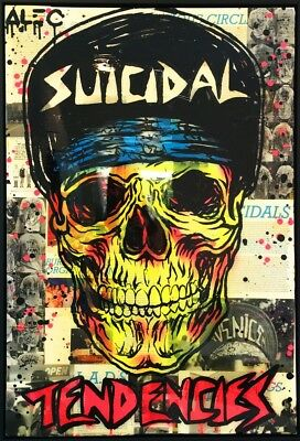 "Alec Monopoly Graffiti Handcraft Oil Painting on Canvas,""Suicidal Tendencies"" 36"