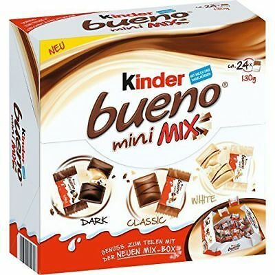 KINDER BUENO Mini Mix Box - Dark, Classic & White Chocolate Wafers 130g / 4.6oz