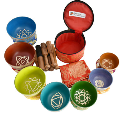 Chakra Healing Tibetan Singing Bowl Sets 7 Multicolor Sets of Meditation Bowls