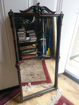 "Antique Hand Carved Mirror Wood Frame 27"" X 13"" 1930 Estate Find"