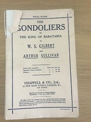 g schirmer edition of the gondoliers or the king of barataria vocal score