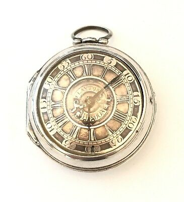 Antique 18th Century English Verge Pocket Watch Silver Champleve Dial London