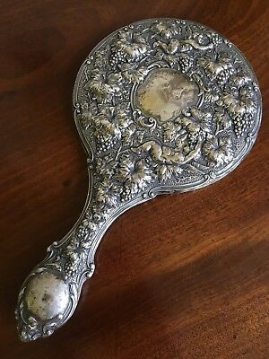 A Good Quality Victorian Silver Dressing Mirror, Birmingham 1900. 28cm Long.