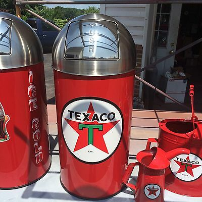 """Vintage Style Texaco Star Trash Can SS Top Very Nice 29"""" Tall 12 Gal."""
