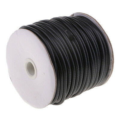 35M 5mm Multi-purpose Braided Waxed Cotton Rope Cord Bracelet String Black