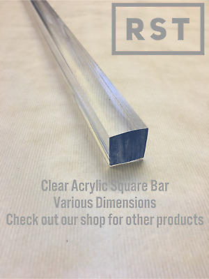 Clear Acrylic Square Bar, Perspex Bar. PMMA Rod. Various sizes