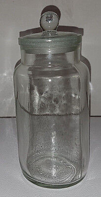 British Made Clear Apothecary Jar. With Stopper. No Chips. Great Condition.