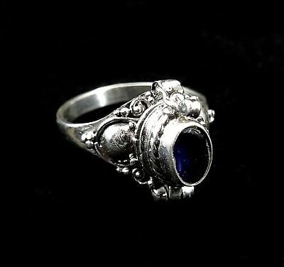 Handmade Solid 925 Sterling Silver Bali Faceted Iolite Poison Pill Box Ring