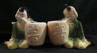 Vintage ROYAL COPLEY Matching Planters Pair 2 Asian Boy & Girl