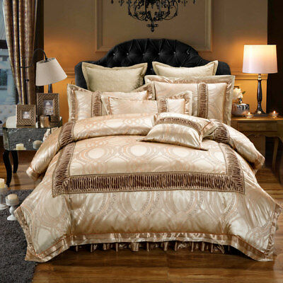 Luxury European Satin Jacquard Modal Cotton Quilted 4pcs Bedding Set King Queen