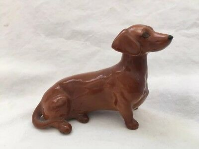 Vintage ENGLAND Marked Dachshund Dog Figurine Beswick ? Tan Brown