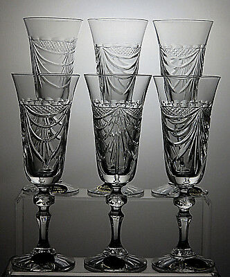VERITABLE TAILLE MAIN CRISTAL 24%pbo CHAMPAGNE FLUTES SET OF