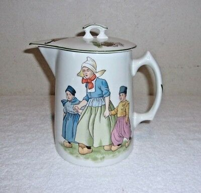 Edwin M. Knowles China Co. Coffee Pot Pitcher With Lid And Dutch Family Scenes