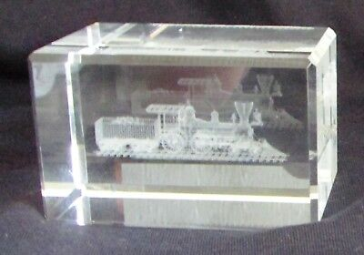 COAL TRAIN Laser 3D Etched Crystal Ornament Gift