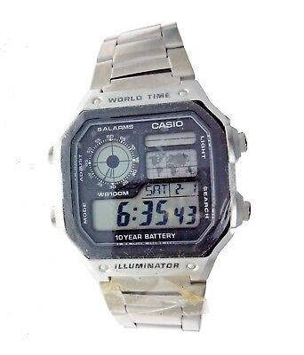 NEW Casio Men's Multifunction Watch WR-100M Stainless Steel Band AE1200WHD-1A