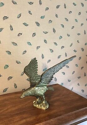 "Antique Vintage Brass American Bald Eagle Statue 7"" Tall"