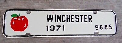 1971 WINCHESTER VIRGINIA License plate topper tax with Red Apple NOS New # 9985