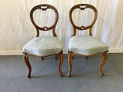 Pair of Victorian balloon back chairs *R. ANDERSONS & SONS #2139L
