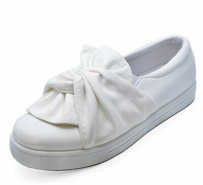 Girls Kids Childrens White Slip-On Trainer Plimsoll Pumps Cute Casual Shoes Uk 8
