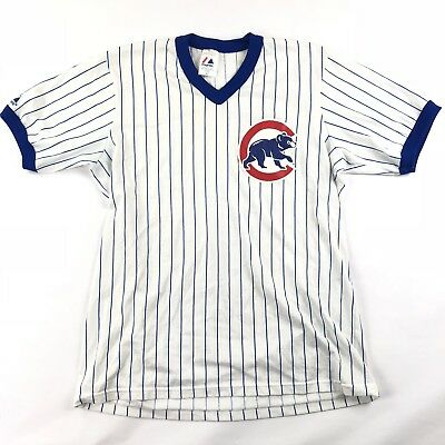 fbff90d1 CHICAGO CUBS VINTAGE 90'S V-Neck Pinstripe Majestic Jersey T-Shirt Size XL