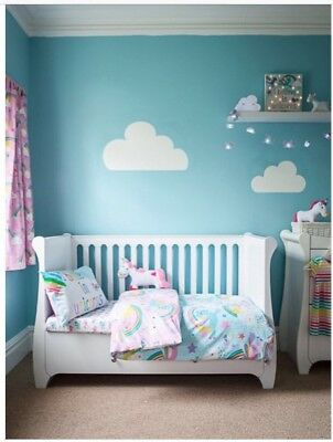 Unicorns Cot Bed Bedding Set Duvet Cover + Fitted Sheet 3 In 1 Set