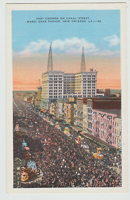Crowds at Canal Street, Mardi Gras Parade, New Orleans, LA., 1920 - 30s Postcard