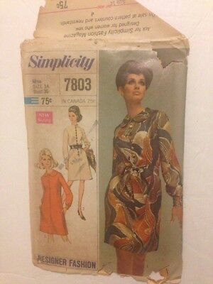 1960's Vintage Sewing Patterns from Simplicity Miss/Misses Dress Style 7803