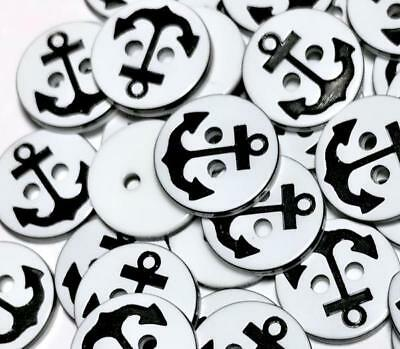 25 pcs 13mm black anchor nautical 2 hole acrylic buttons / sewing supplies
