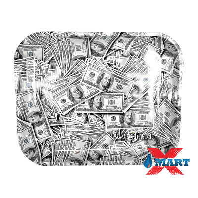 Skunk Brand BENJAMINS 100 Dollar Bills Tobacco Metal LARGE Rolling Tray 14x11
