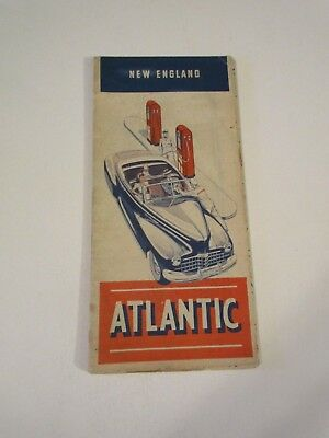 Vintage Atlantic New England Oil Gas Station Travel Road Map