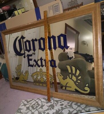 HUGE Corona Extra Beer Bar Mirror Sign Wood Framed Authentic Corona Mexico 54X33
