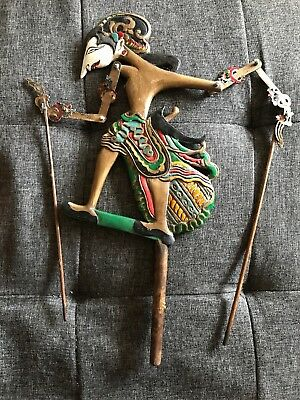 Indonesian Wayang Kulit Shadow Puppet Double Sided Antique Great Condition Handm
