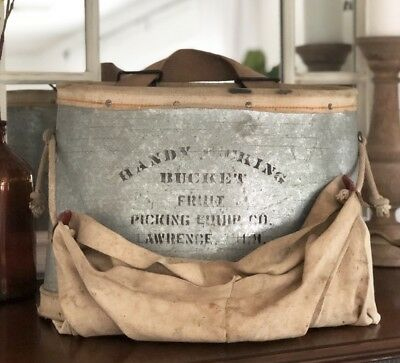 Vintage Galvanized Fruit Picking Bucket Lawrence, Michigan - Farmhouse Decor