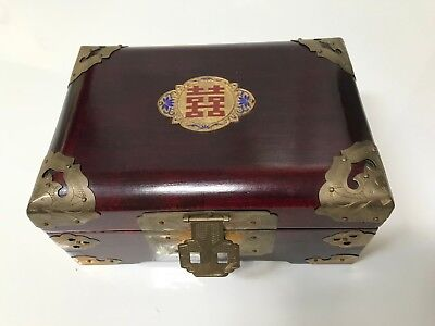Chinese Handcrafted Rosewood Wedding Jewelry Box Antique Vintage Brass Trimming