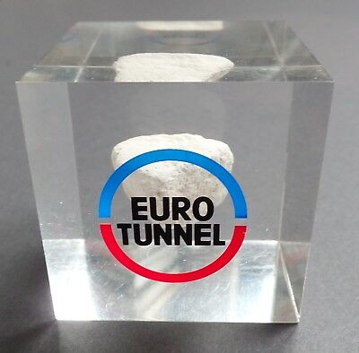Vintage Lucite Euro Tunnel Paperweight w/Rock from Channel Tunnel Eurotunnel