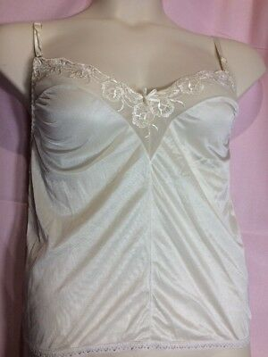 "Sears M(32""Bust) beige floral lace adjustable cami camisole lingerie top T39"