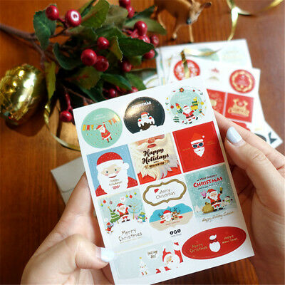 2PCS Christmas Gold Print Gift Paper Stickers DIY Tag Labels Scrapbook Gifts.