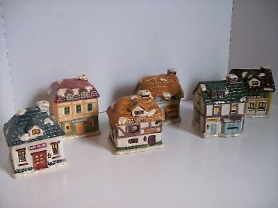 Dickens Village Ceramic Candle Holders Lot of 6 Christmas/Train/Holiday Decor