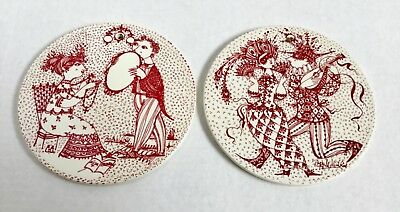 2 BJORN WIINBLAD NYMOLLE Denmark Wall Plaques February September Red