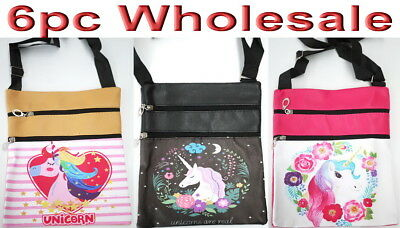 6pc Wholesale Girl Women Unicorn PU Long Crossbody Bag Messenger Handbag Mixed