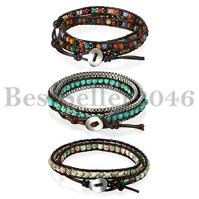 3pcs Vintage Multilayer Leather Beaded Wrap Wristband Women Men Cuff Bracelet