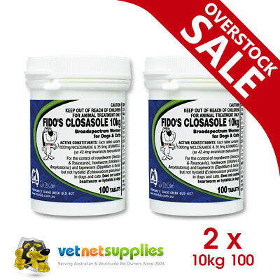 2 x Fidos Closasole 10kg 100s 100 Worming Control Tablets Dogs & Cats - BULK BUY