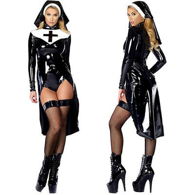 Sexy Black Women Nun Costume Vinyl Leather Cosplay Wet Look Halloween Costume
