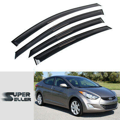 4pcs Rain Guard Visor Vent Inner Channel For Hyundai Elantra 4DR Sedan 2011-2016