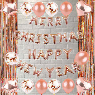 Rose Gold Merry Christmas Happy New Year 2019  Foil Balloon Banner Bunting Xmas